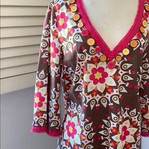 Boden Cotton Dress Brown Pink V-Neckline 🥰